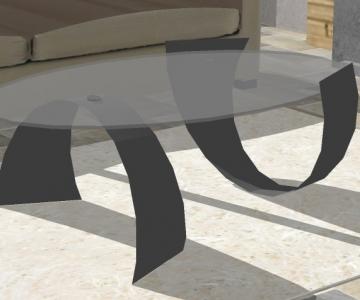 Modélisation 3D table en acier avec plateau en verre