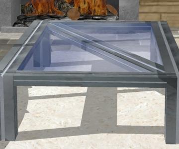 Modélisation 3D d'une table basse avec plateau en verre fractionné