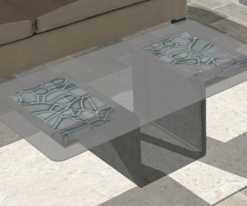Modélisation 3D d'une table basse avec incrustation tôles texturées