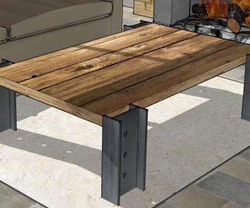 Modélisation 3D table en acier avec plateau en bois