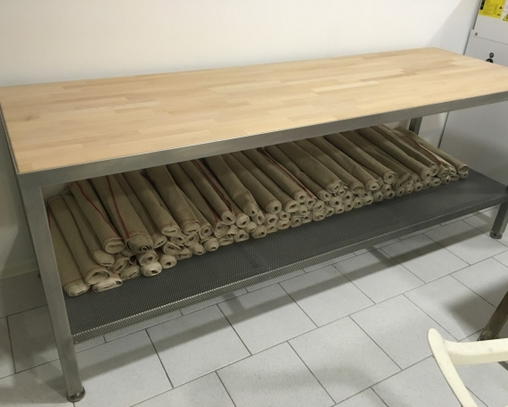 Mobilier de boulanger tout inox plateau bois